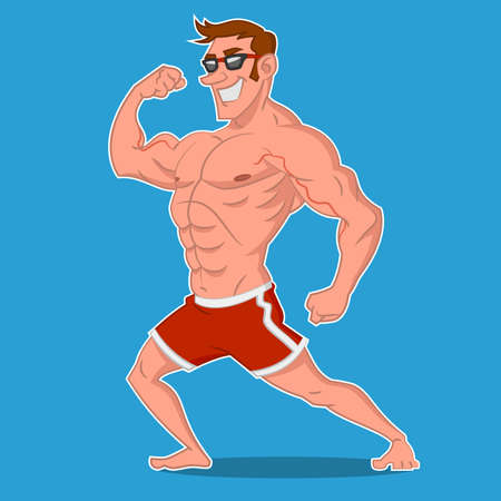sunglasses cartoon: Bodybuilder posing. Vector illustration.