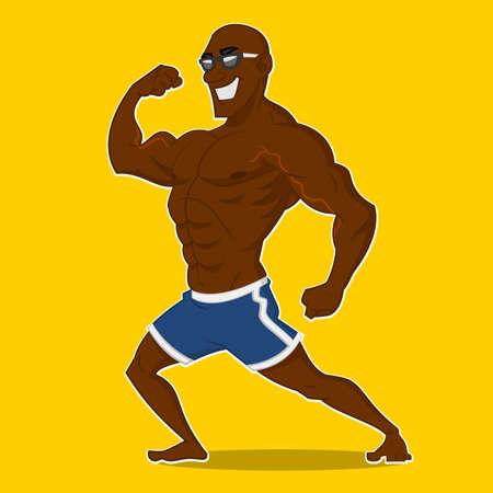 Athlete posing. Vector illustration.