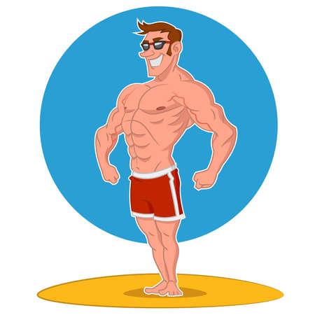 Posing bodybuilder. Vector illustration Stock Vector - 38656142