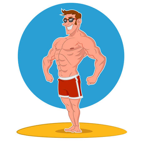 Posing bodybuilder. Vector illustration