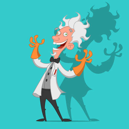 Mad scientist laughs ominously. Vector illustration