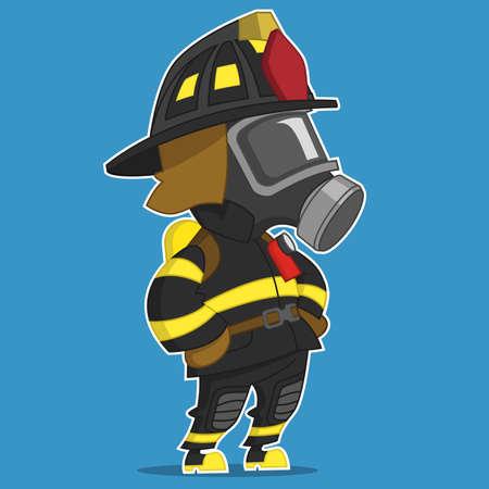 oxygen mask: Firefighter stands. Vector illustration. Illustration
