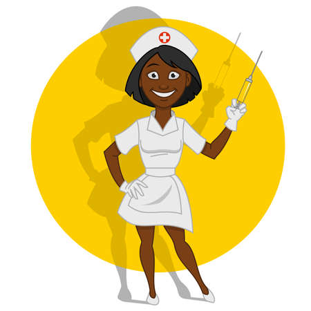 syringe: Beautiful nurse. Vector illustration.