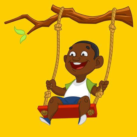 columpio: Niño en un columpio. Ilustración del vector.
