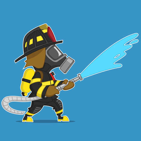 Firefighter pours water from a hose. Vector illustration