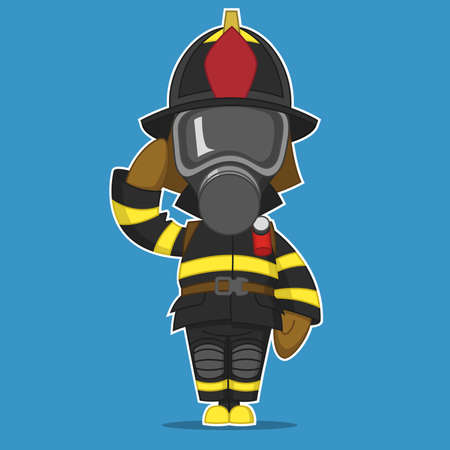 salutes: Firefighter salutes. Vector illustration.