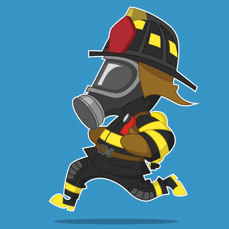 Firefighter hurry. Vector illustration.