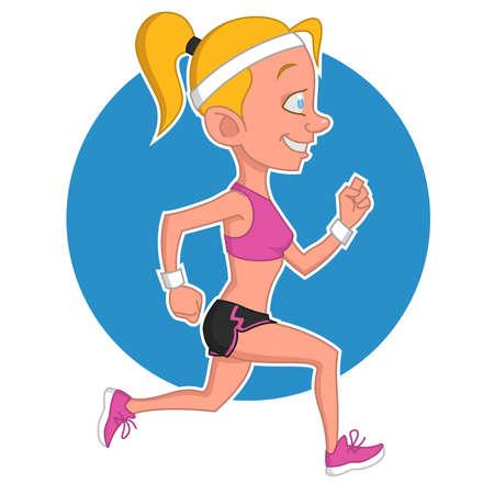 hardy: Running girl. Vector illustration. Illustration