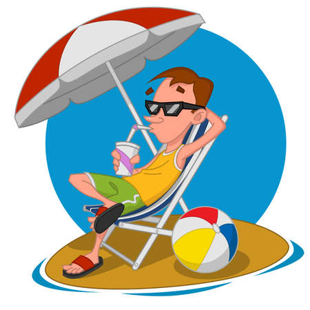 Man on the beach. Vector illustration.