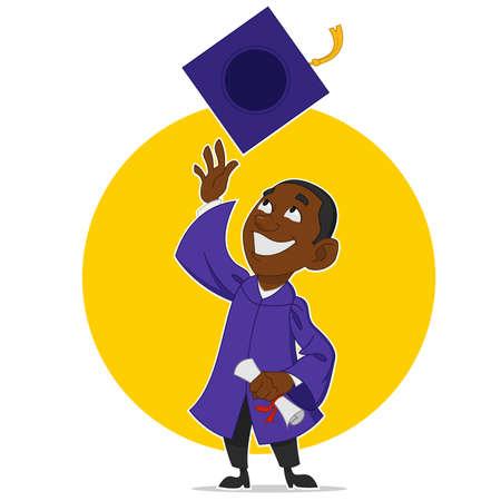 trained: Graduate rejoices. Vector illustration.