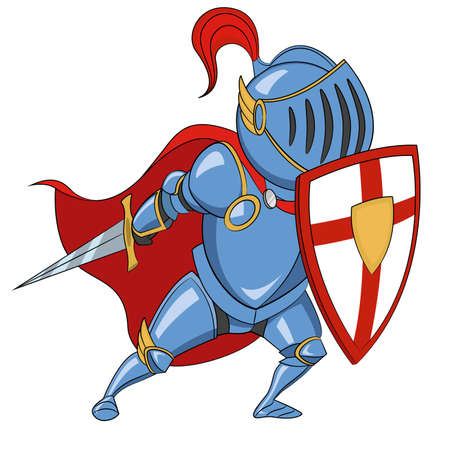 Knight with shield. Vector illustration.