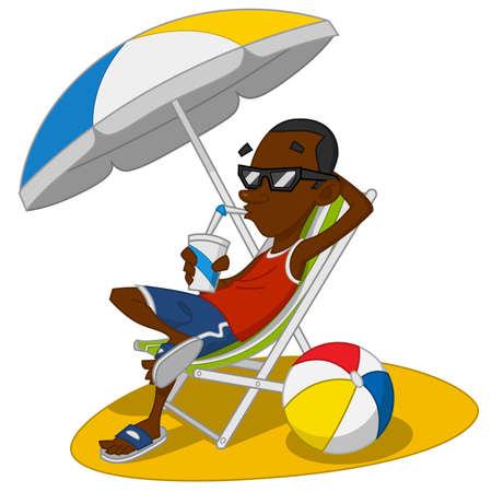 Man on vacation. Vector illustration.