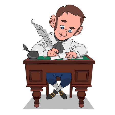The writer creates. Vector illustration.