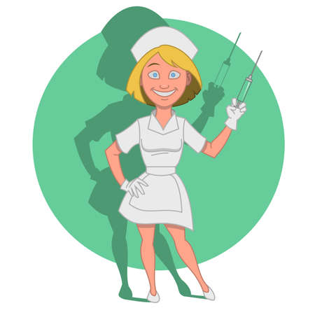 syringe: Nurse with a syringe. Vector illustration