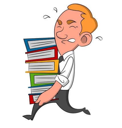 bustle: Man with documents. Vector illustration. Illustration