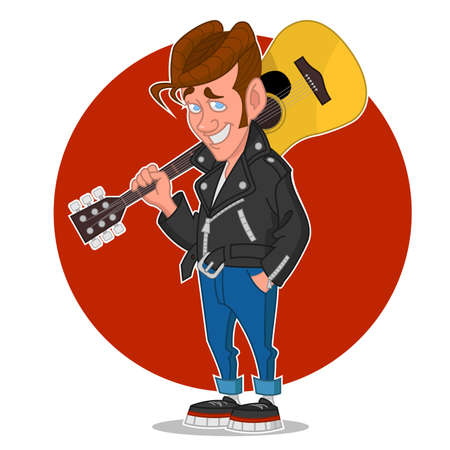 rock n: Man with a guitar. Vector illustration. Illustration