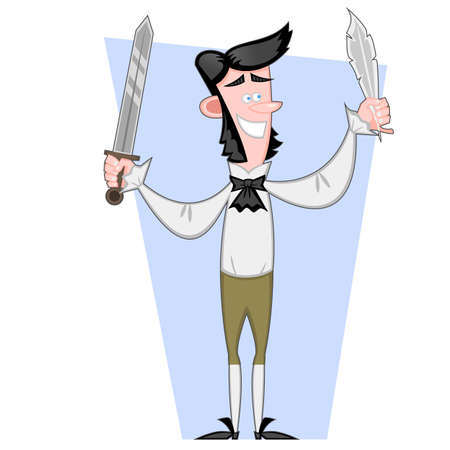 Writer with a sword and the feather. Vector illustration.