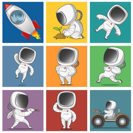 astronauta: Los astronautas establecen. Vector illustation. Vectores