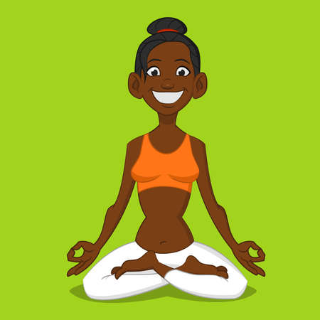woman meditating: Mujer meditando. Ilustraci�n del vector.