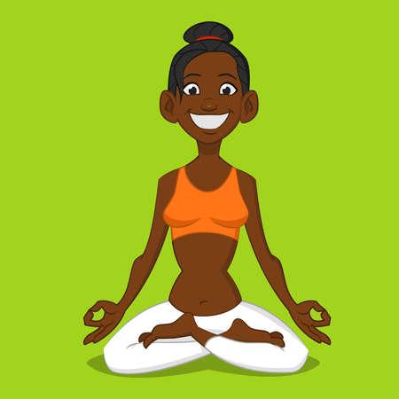 woman meditating. Vector illustration. Ilustração