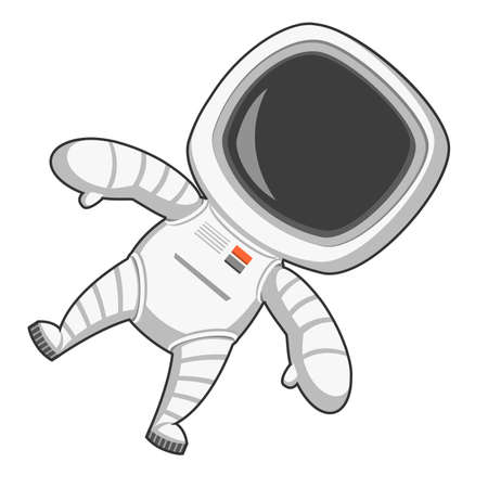 to gravity: Astronaut in zero gravity. Vector illustration.