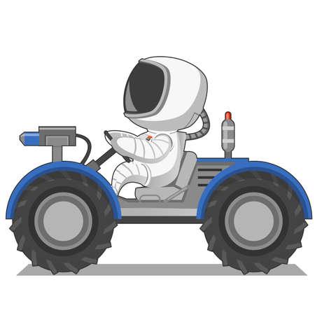 moon walker: Astronaut on the moon rover. Vector illustration.