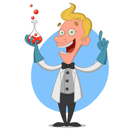 chemist with flask. Vector illustration.