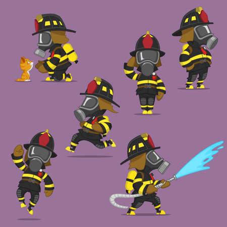bombero: conjunto de los bomberos. Ilustraci�n vectorial