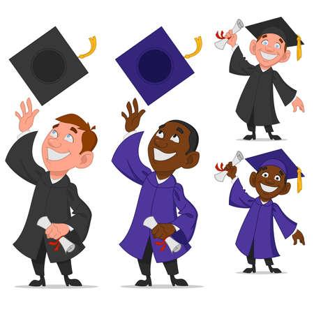 educated: set of graduates. Vector illustration.