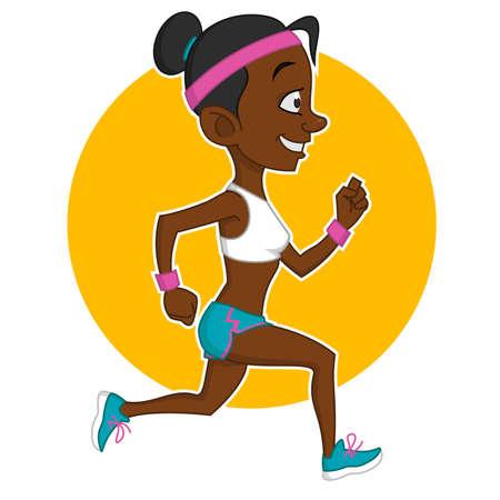 hardy: running girl. Vector illustration.