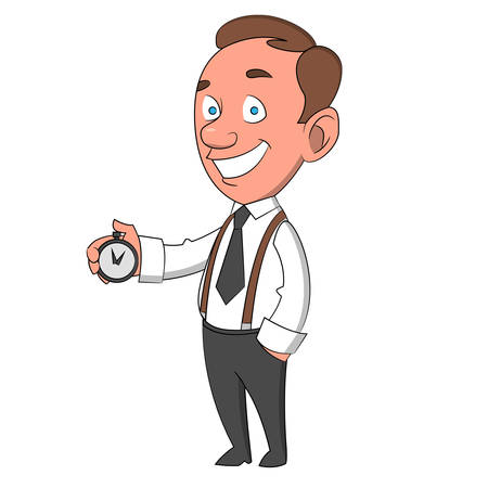 suspenders: man with timer. Vector illustration.