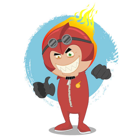 coverall: Red man. Vector illustration.