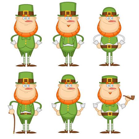 녹색 모자에 재미 난쟁이. 벡터 일러스트 레이 션.