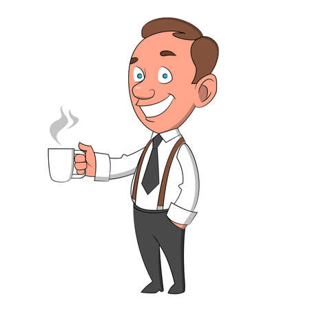 man with a mug. Vector illustration.