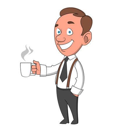 suspenders: man with a mug. Vector illustration.
