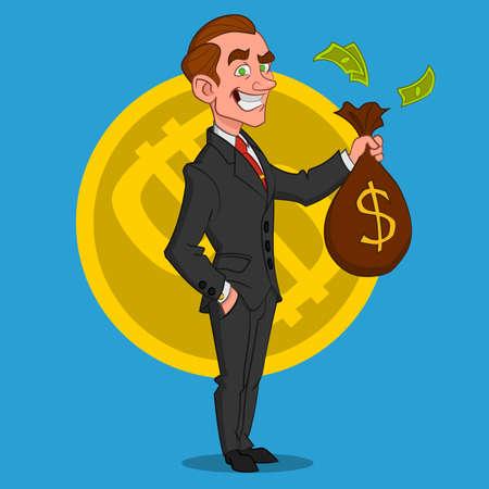 zapatos caricatura: hombre de negocios con una bolsa de dinero. Ilustración del vector.