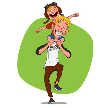 black family smiling: Dad playing with his son. Vector illustration.