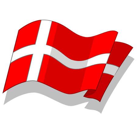 덴마크의 국기. 벡터.