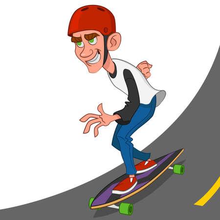 zapatos caricatura: skater monta un longboard. Ilustraci�n del vector.