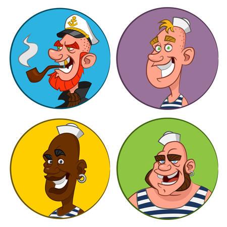 avatars sailors. Vector.