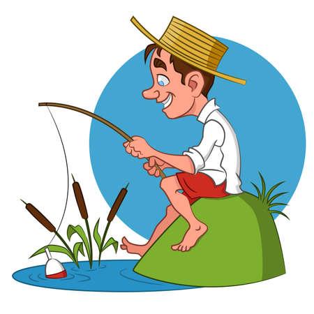 漁師。ベクトルの図。