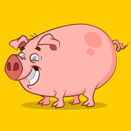 funniest pig. Vector illustration.
