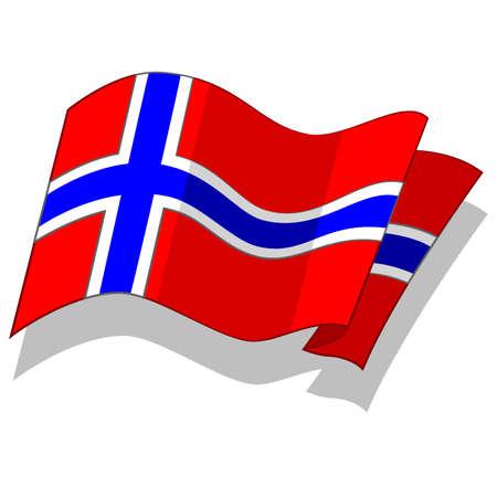 노르웨이어 플래그. 벡터. 일러스트