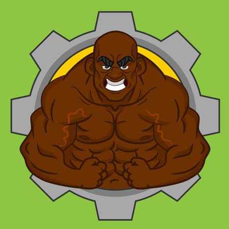 Avatar black bodybuilder. Vector. Ilustração