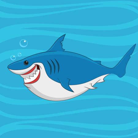 squalo bianco: grande squalo bianco. Illustrazione vettoriale.