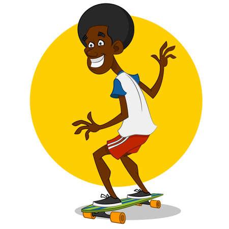 dude: dude on long board. Vector illustration. Illustration