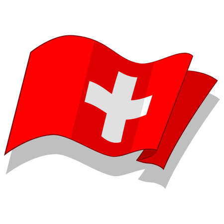 swiss flag: flag of Switzerland. Vector Illustration
