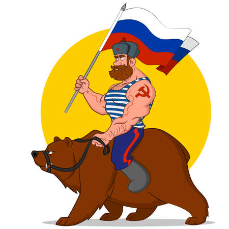 funny bearded man: Russian riding a bear. Vector illustration.