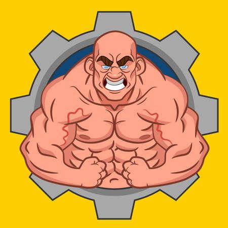 body building: Avatar bodybuilder. Vector. Illustration