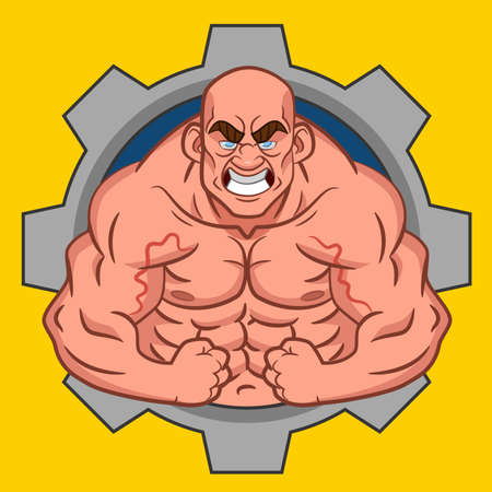 cuerpo hombre: Culturista Avatar. Vector.